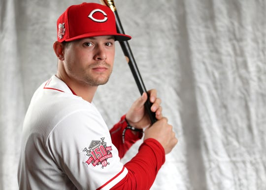 Cincinnati Reds outfielder Brian O'Grady (82) poses for a portrait on picture day, Tuesday, Feb. 19, 2019, at the Cincinnati Reds spring training facility in Goodyear, Arizona.