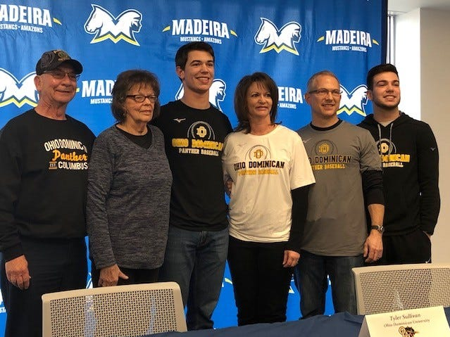 Tyler Sullivan of Madeira, joined by family, signed to play baseball for Ohio Dominican.