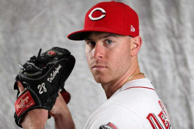 Cincinnati Reds starting pitcher Anthony DeSclafani (28) poses for a portrait on picture, Tuesday, Feb. 19, 2019, at the Cincinnati Reds spring training facility in Goodyear, Arizona.