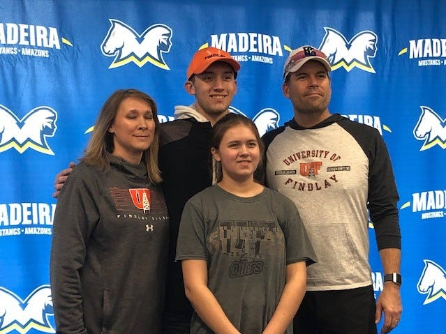 Casey Wirsing of Madeira, joined by his family, signed to play baseball for the University of Findlay.