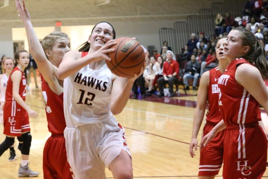 Rossview's Macy Rippy (12) drives into the lane for a shot against Henry County during their District 10 tournament championship game Monday at West Creek High School.