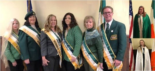 "The Woodbridge American Irish Association recently selected this year's St. Patrick's Day Parade honorees. Pictured (left to right): Maureen Jergens, parade co-chair 2019; Debbie Hutchinson, president; Laura Jacobs, parade chair 2019; Maryalice Jacko, Grand Marshal 2019; Susan Crofford, Irish Woman of the Year 2019; Ken Gardner, Irish Man of the Year 2019. (Top right): 2019 Miss American Irish Erin Cahill. (Bottom right): 2019 Lady-in-Waiting Grace Fischer. The parade will be held Sunday, March 10, starting at 1:30 p.m. The association funds the parade. Visit Amerirish.com. Or ""like"" American Irish of Woodbridge on Facebook."