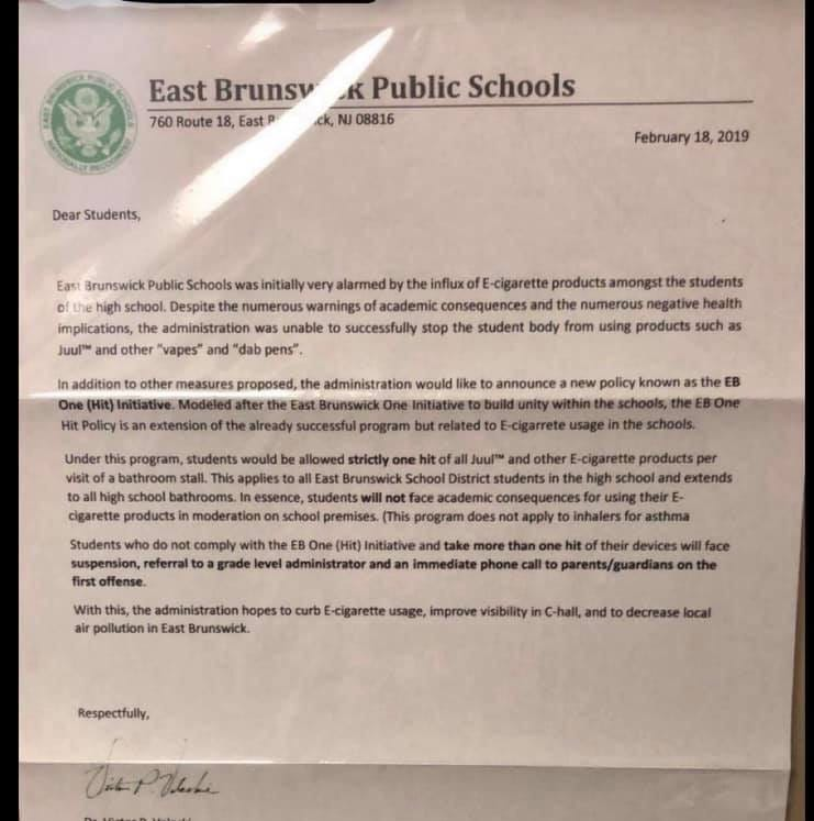 East Brunswick schools, police investigate forged letter about vaping policy