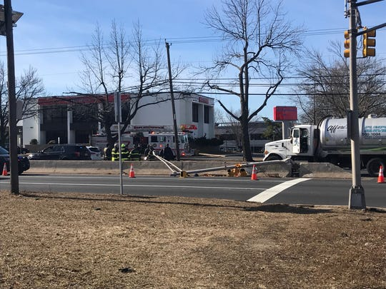 An accident on Route 18 in East Brunswick caused a traffic light to go down.