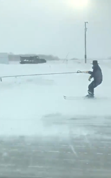 An Iowa woman captured this Amish man skiing Feb. 17, 2019 along the side of a road in northeastern Iowa. He was being pulled by a horse and buggy.