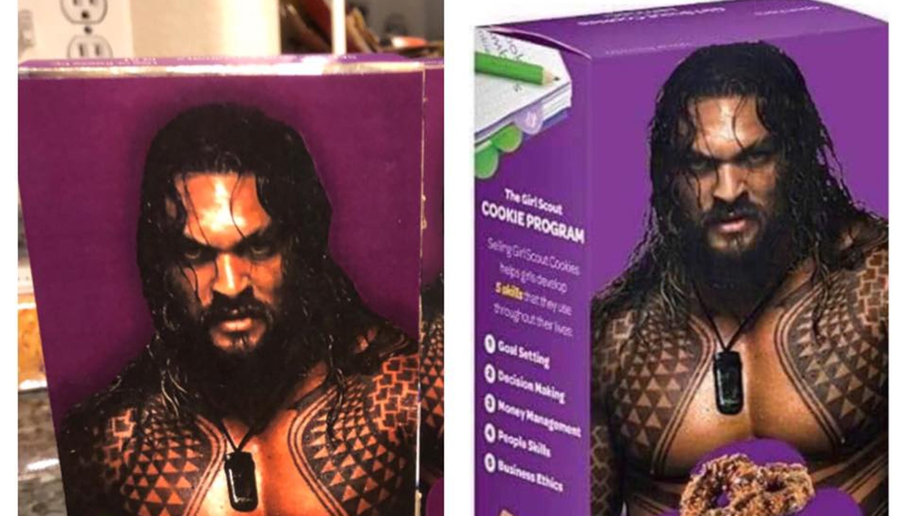 Momoa Samoas Girl Scout Markets Cookies With Shirtless Image Of