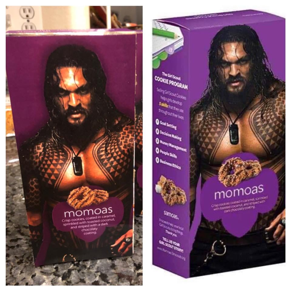 Momoa Samoas? Girl Scout markets cookies with shirtless image of Jason Momoa
