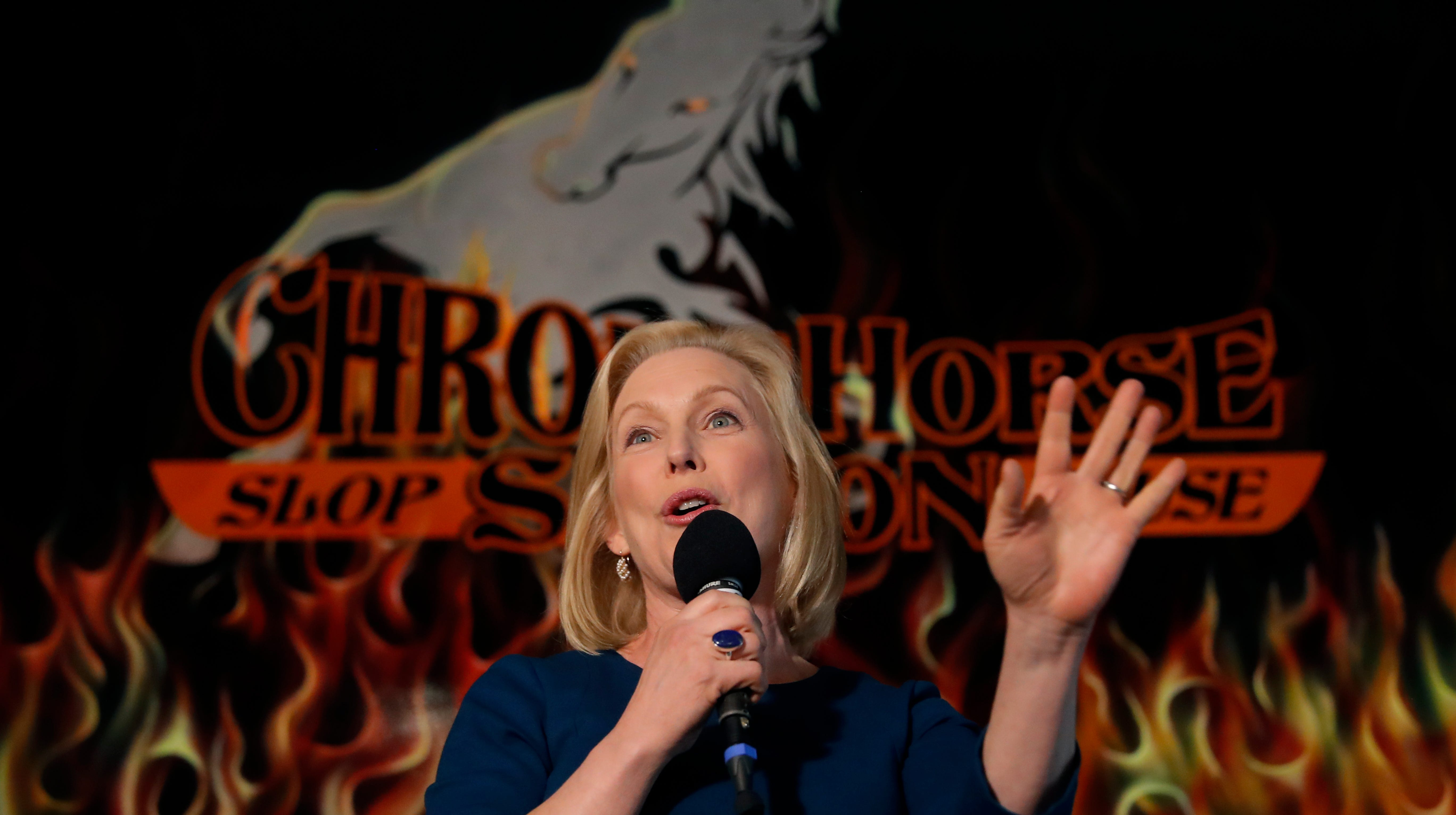 U.S. Sen. Kirsten Gillibrand, D-N.Y., speaks during a meet-and-greet with local residents Monday, Feb. 18, 2019, in Cedar Rapids, Iowa. (AP Photo/Charlie Neibergall)