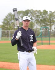 Detroit Tigers catcher Grayson Greiner prepares for batting practice Monday, Feb. 18, 2019 at Joker Marchant Stadium in Lakeland, Fla.