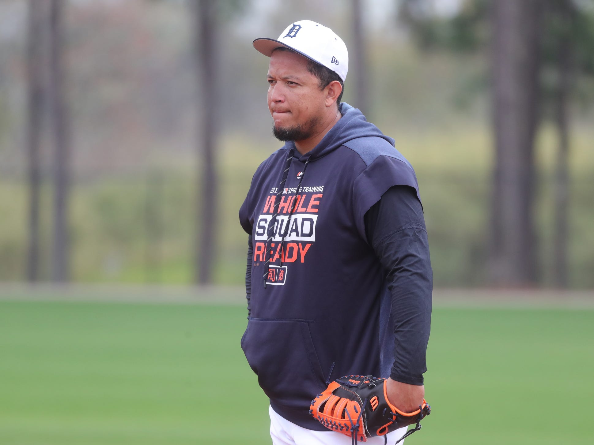 Detroit Tigers infielder Miguel Cabrera at first base during practice Monday, Feb. 18, 2019 at Publix Field at Joker Marchant Stadium in Lakeland, Fla.