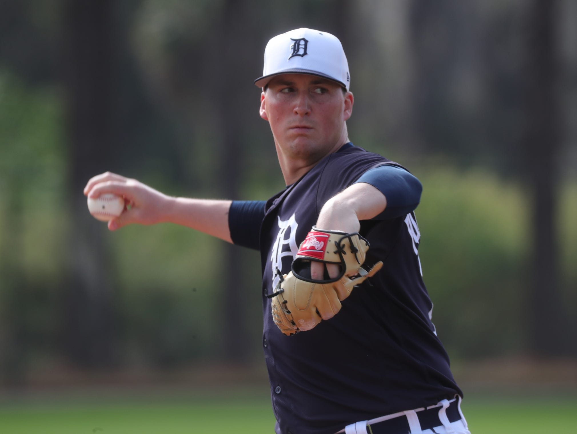 """Tigers pitching prospect Kyle Funkhouser went 0-2 in Toledo last season, then took another """"L"""" when he broke his ankle stepping on a crack in the sidewalk."""