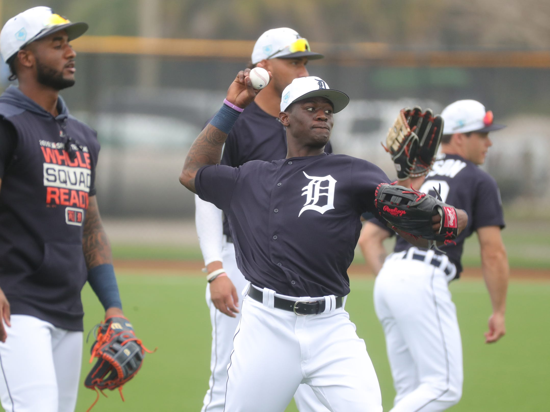 Detroit Tigers outfielder Daz Cameron warms up Monday, Feb. 18, 2019 at Joker Marchant Stadium in Lakeland, Fla.