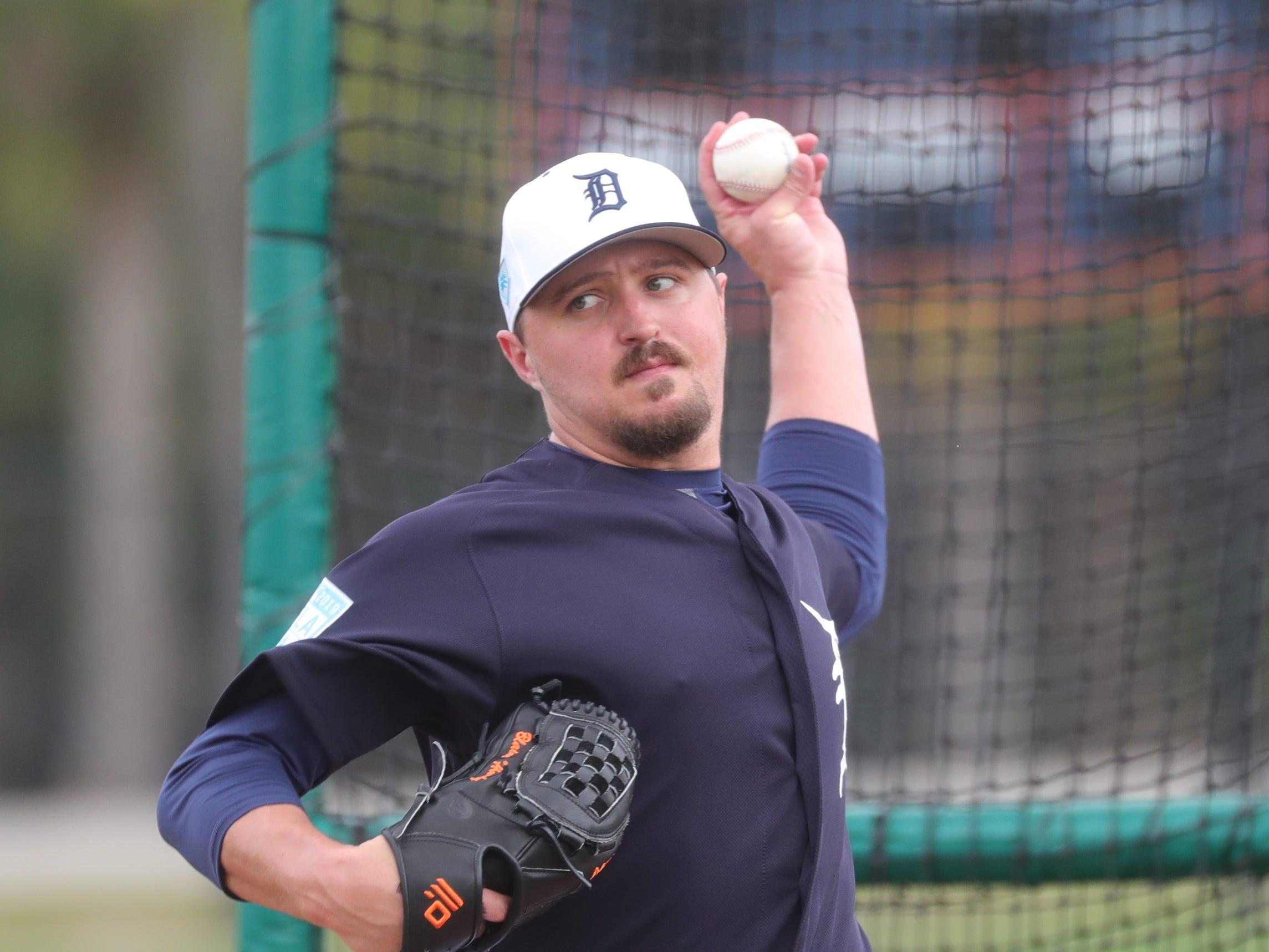 Detroit Tigers pitcher Blaine Hardy throws batting practice Monday, Feb. 18, 2019 at Joker Marchant Stadium in Lakeland, Fla.