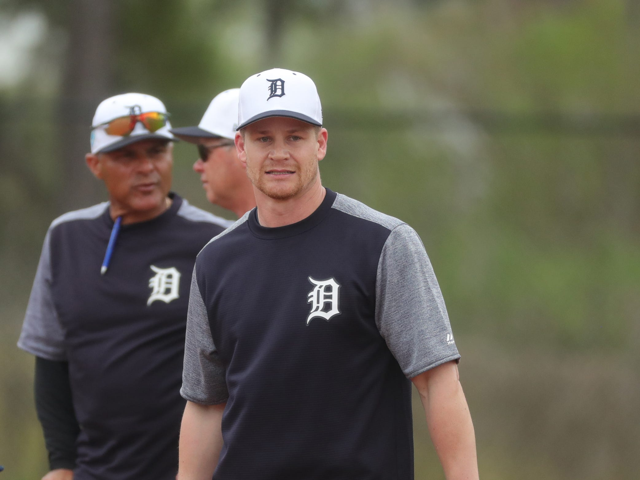 Detroit Tigers infielder Gordon Beckham at second base during practice Monday, Feb. 18, 2019 at Publix Field at Joker Marchant Stadium in Lakeland, Fla.