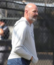 Tigers great Kirk Gibson watches batting practice during spring training on Tuesday, Feb. 19, 2019, at Joker Marchant Stadium in Lakeland, Florida.