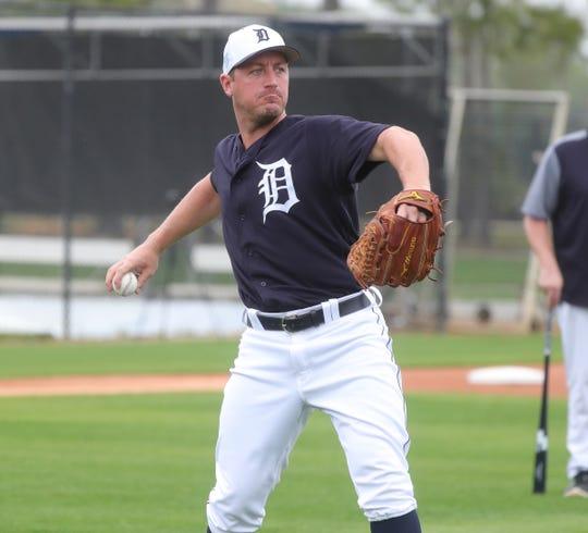 Detroit Tigers pitcher Jordan Zimmermann throws to first base during practice Monday, Feb. 18, 2019 at Publix Field at Joker Marchant Stadium in Lakeland, Fla.