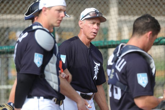 Tigers Hall of Famer Alan Trammell watches batting practice during spring training on Tuesday, Feb. 19, 2019, at Joker Marchant Stadium in Lakeland, Florida.
