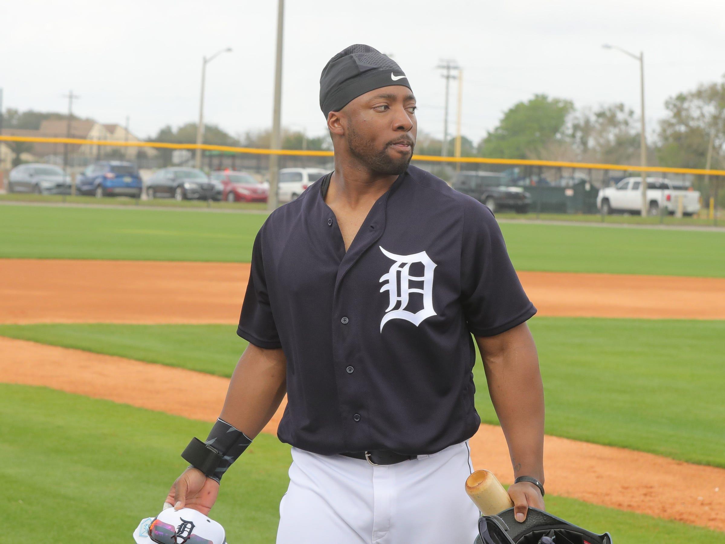 Detroit Tigers outfielder Christin Stewart prepares to bat Monday, Feb. 18, 2019 at Joker Marchant Stadium in Lakeland, Fla.