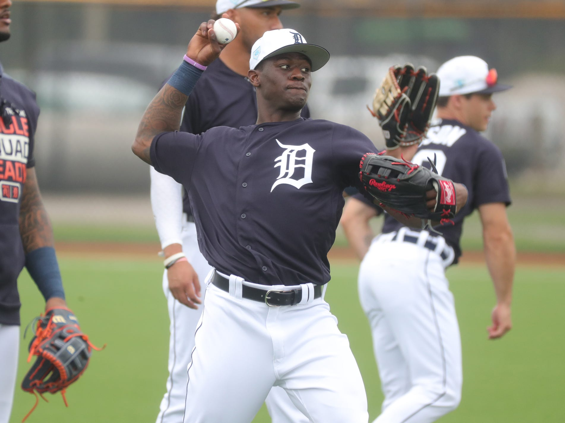 Tigers outfielder Daz Cameron warms up during spring training on Monday, Feb. 18, 2019, in Lakeland, Florida.