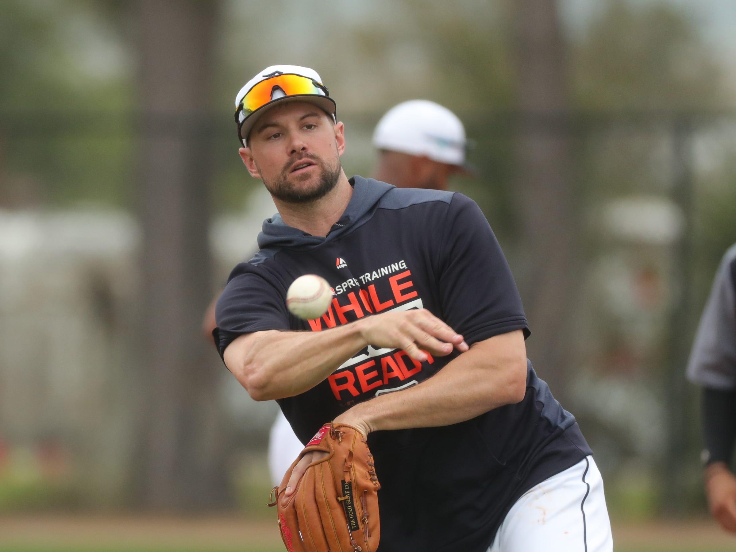 Detroit Tigers infielder Jordy Mercer at shortstop during practice Monday, Feb. 18, 2019 at Publix Field at Joker Marchant Stadium in Lakeland, Fla.