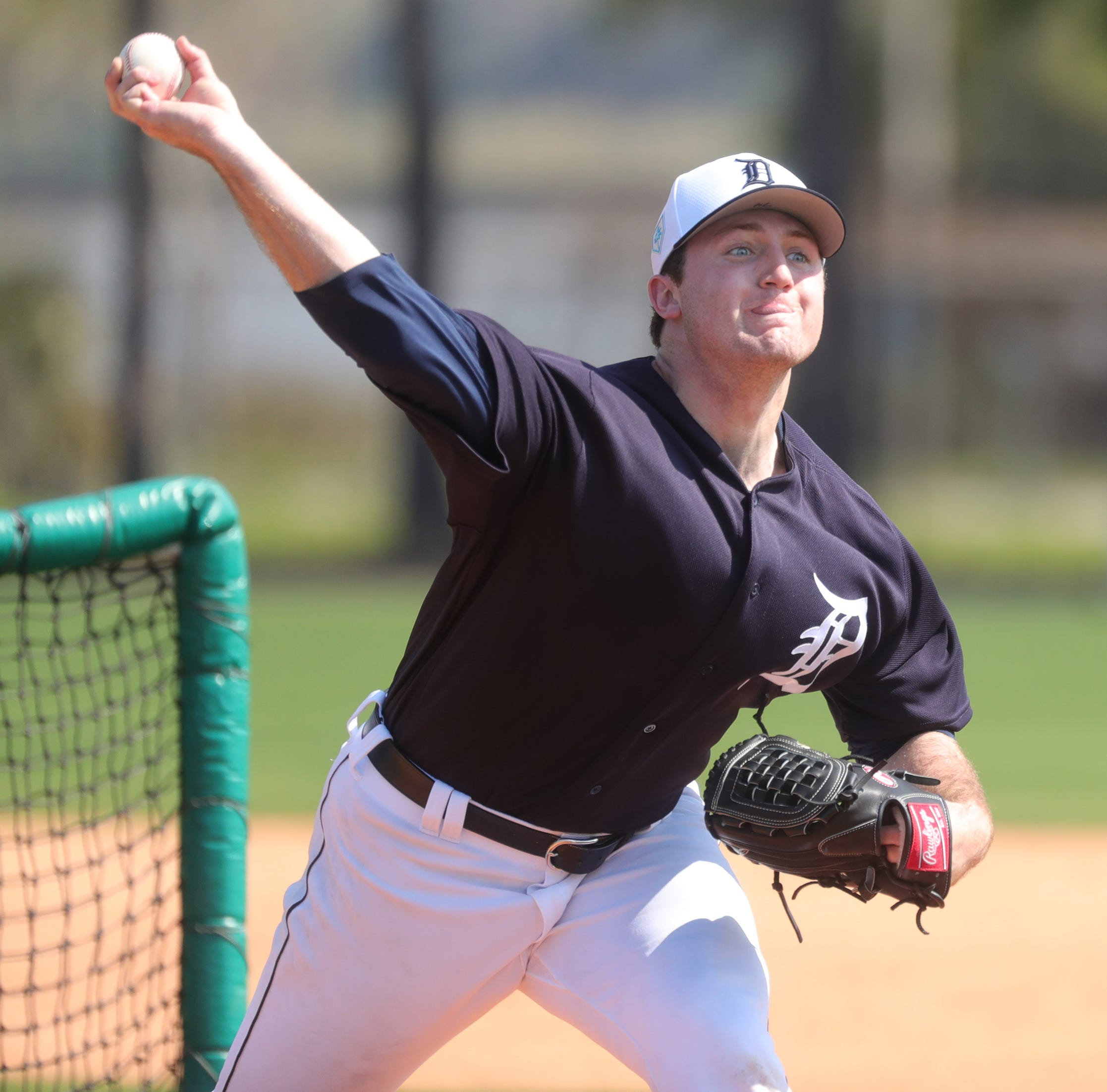 Tigers pitcher Casey Mize pitches during batting practice during spring training on Tuesday, Feb. 19, 2019, at Joker Marchant Stadium in Lakeland, Florida.