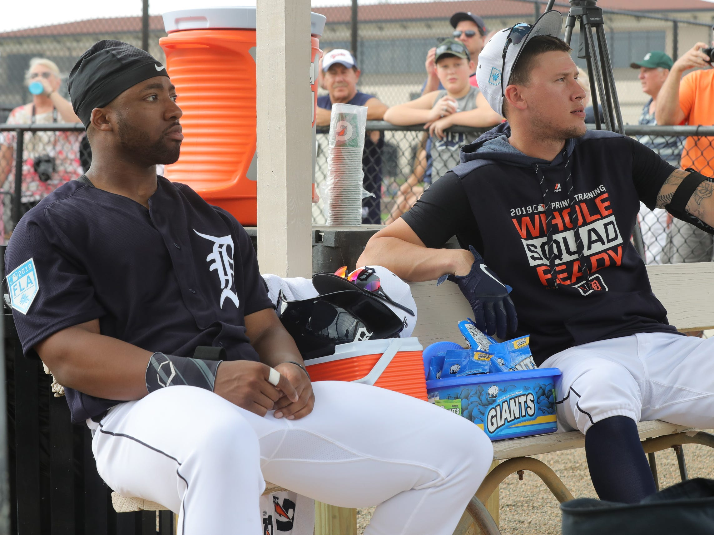 Detroit Tigers outfielders Christin Stewart, left, and JaCoby Jones in the dugout Monday, Feb. 18, 2019 at Joker Marchant Stadium in Lakeland, Fla.