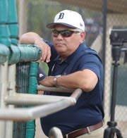 Detroit Tigers GM Al Avila watches spring traning practice Monday, Feb. 18, 2019 at Publix Field at Joker Marchant Stadium in Lakeland, Fla.