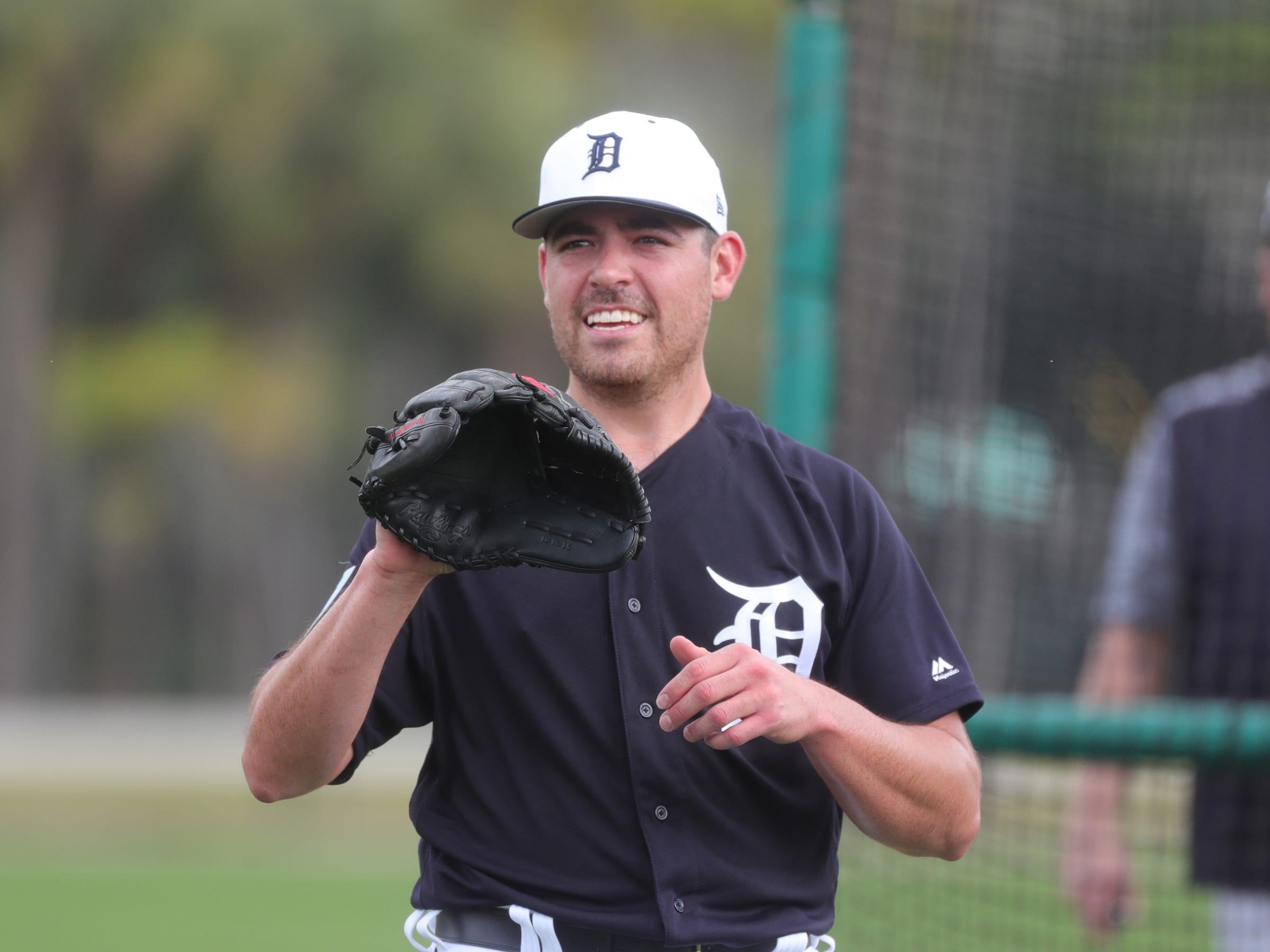 Detroit Tigers pitcher Matt Moore throws batting practice Monday, Feb. 18, 2019 at Joker Marchant Stadium in Lakeland, Fla.
