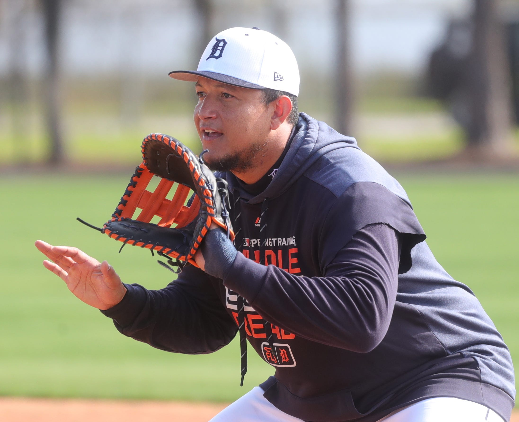 Tigers first baseman Miguel Cabrera goes through drills during spring training on Tuesday, Feb. 19, 2019, at Joker Marchant Stadium in Lakeland, Florida.