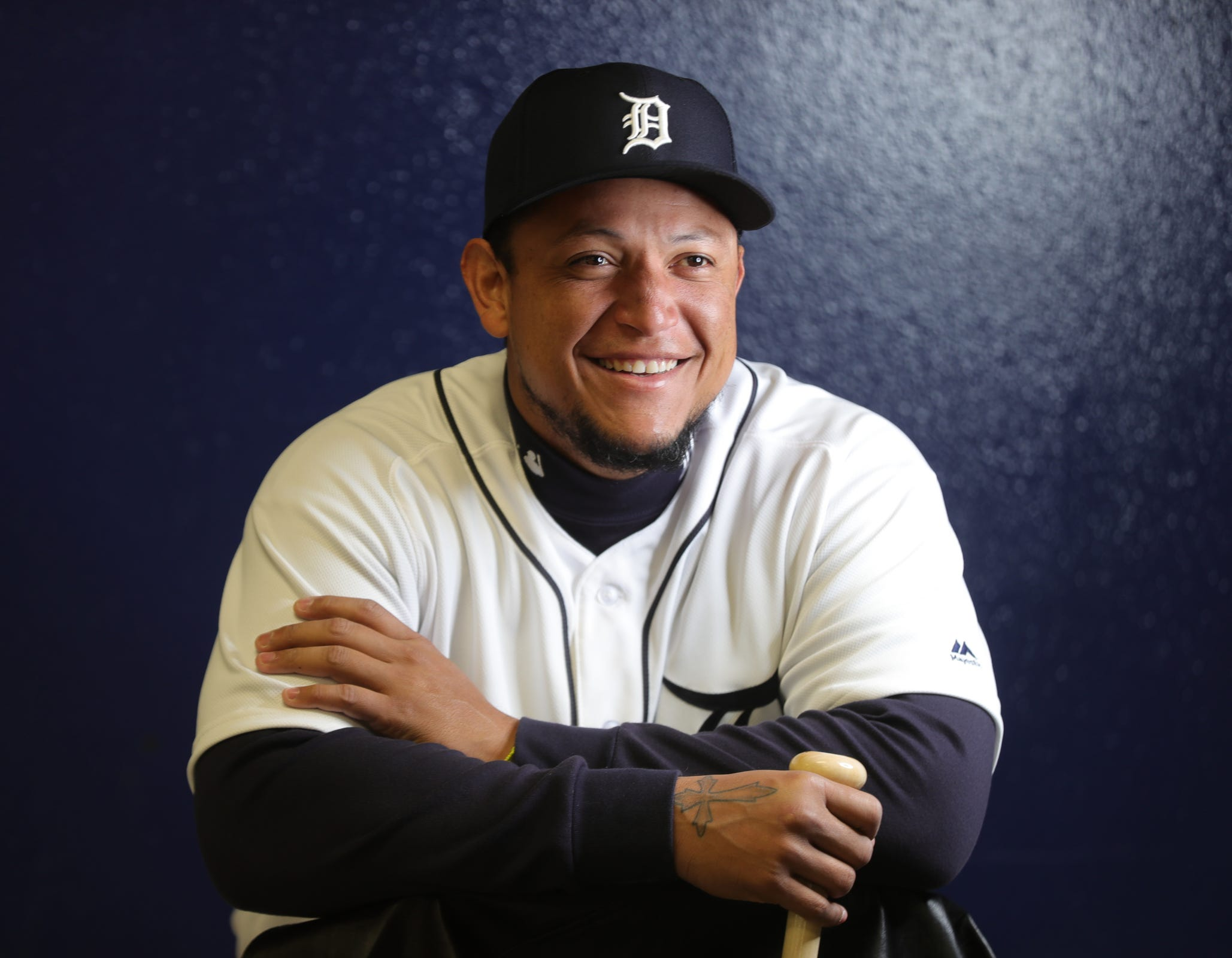 Tigers first baseman Miguel Cabrera has his picture taken during spring training on Tuesday, Feb. 19, 2019, at Joker Marchant Stadium in Lakeland, Florida.