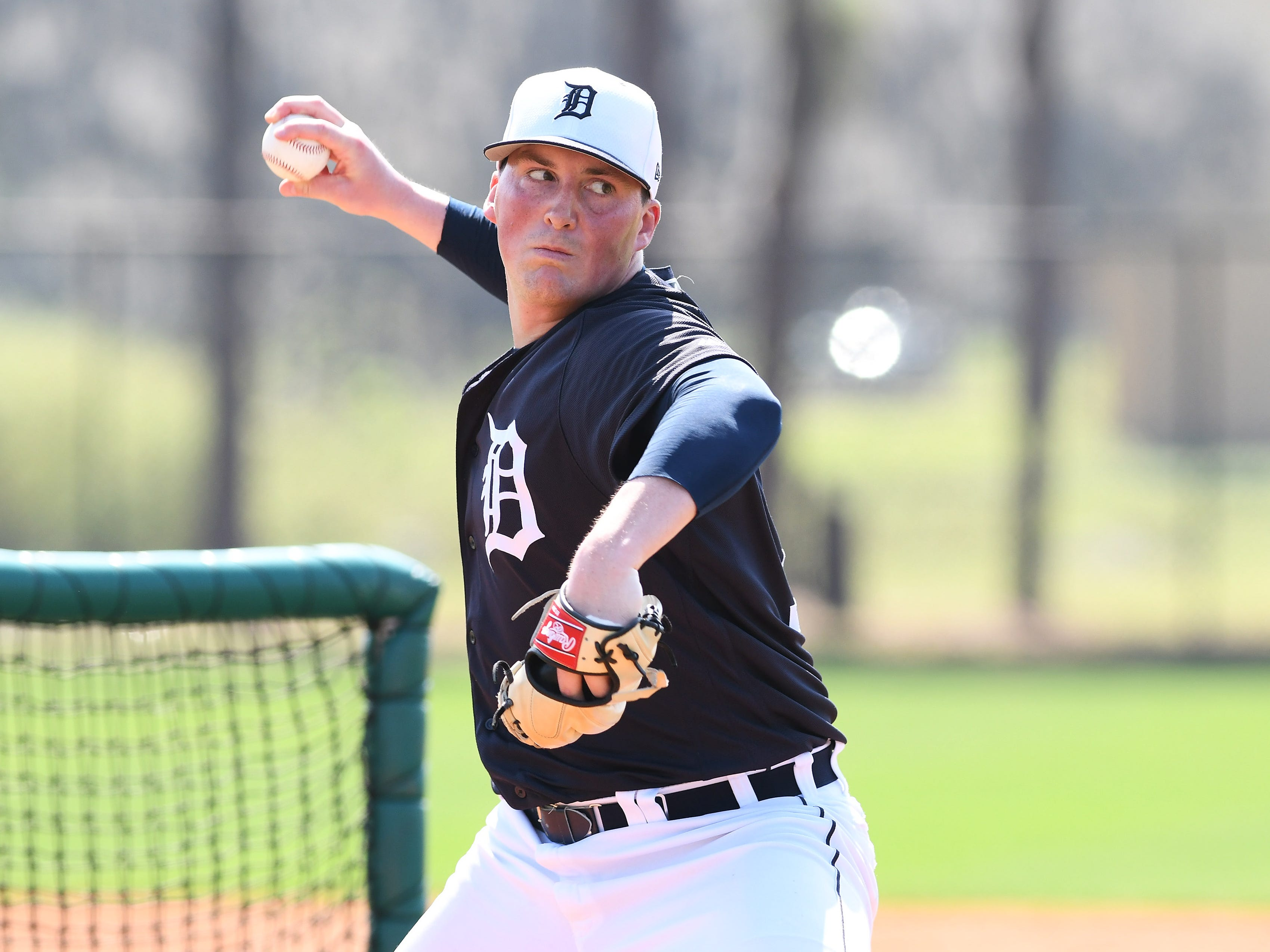 Tigers non-roster invitee Kyle Funkhouser pitches live batting practice.