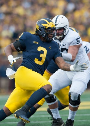 Michigan defensive lineman Rashan Gary is projected by ESPN's Mel Kiper to go No. 4 overall to the Raiders in his latest mock draft.