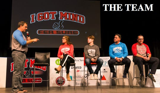 "Bob Wilkie, left, and his team at ""I Got Mind"" tours Canadian towns, striving to raise awareness of mental health issues in the sports world."