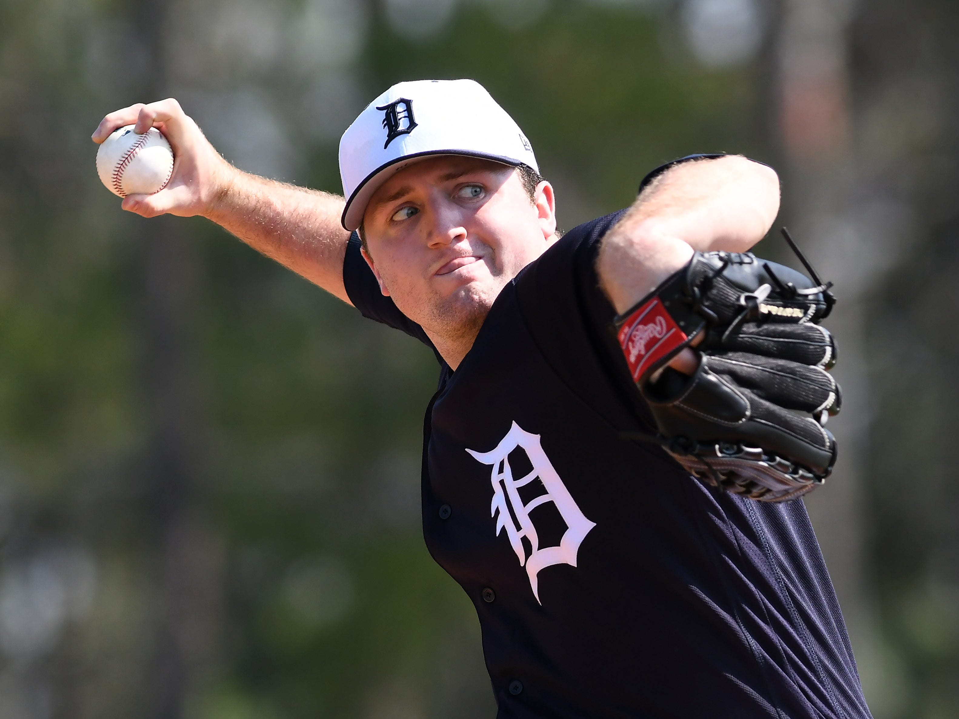 Tigers pitcher Casey Mize throws live batting practice.