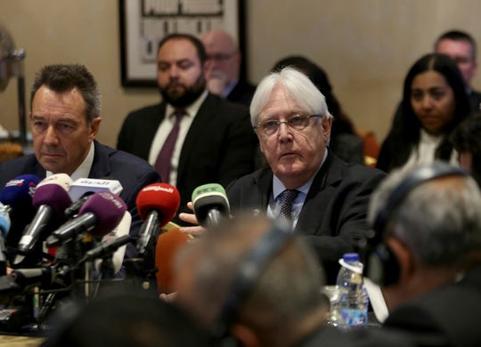 United Nations Special Envoy to Yemen Martin Griffiths, center, and President of the International Committee of the Red Cross Peter Maurer, participate in a new round of talks by Yemen's warring parties in Amman, Jordan, Feb. 5.