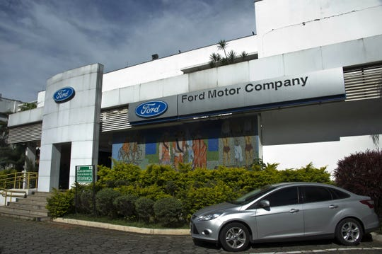 Main entrance of the Ford plant in Sao Bernardo do Campo.