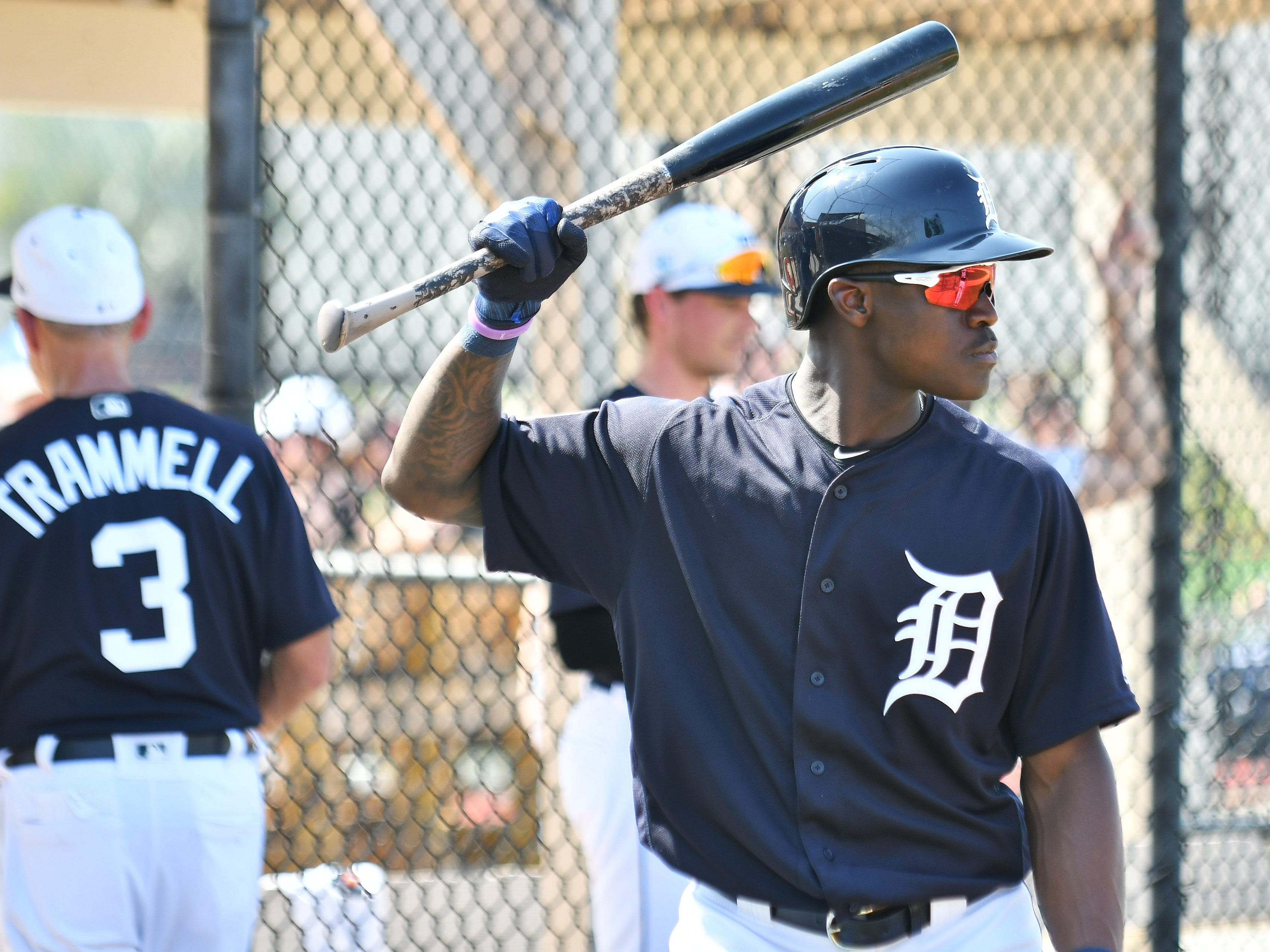 Tigers non-roster invitee Daz Cameron gets ready for batting practice.