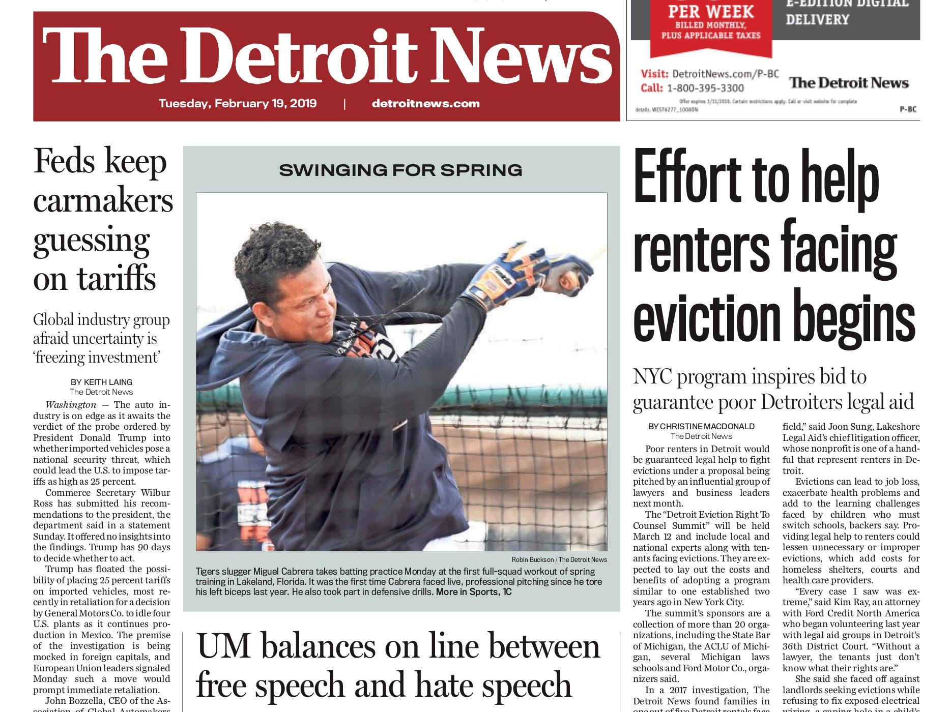 Page one of the Detroit News on February 19, 2019.