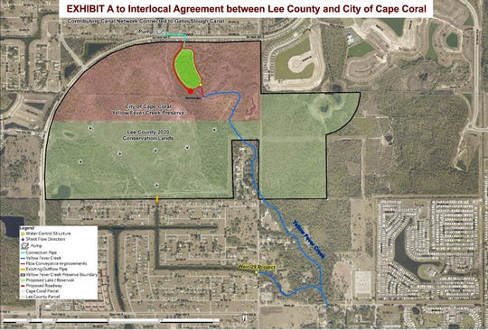 A map shows proposed changes to the Yellow Fever Creek Preserve area in northeast Cape Coral and Lee County.