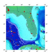 Dots and triangles show the location of all known earthquakes in the Florida region since 1875. The yellow star in the Gulf is where the September 10, 2006, 6.0 magnitude earthquake occurred; it was the largest magnitude earthquake known to have originated in the Gulf of Mexico.