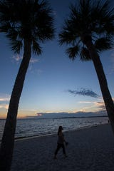The sun sets over the Cape Coral area. Florida Department of Health in Lee County said swimming wa not advised at the Cape Coral Yacht Club swimming beach Thursday after elevated bacteria levels were detected.