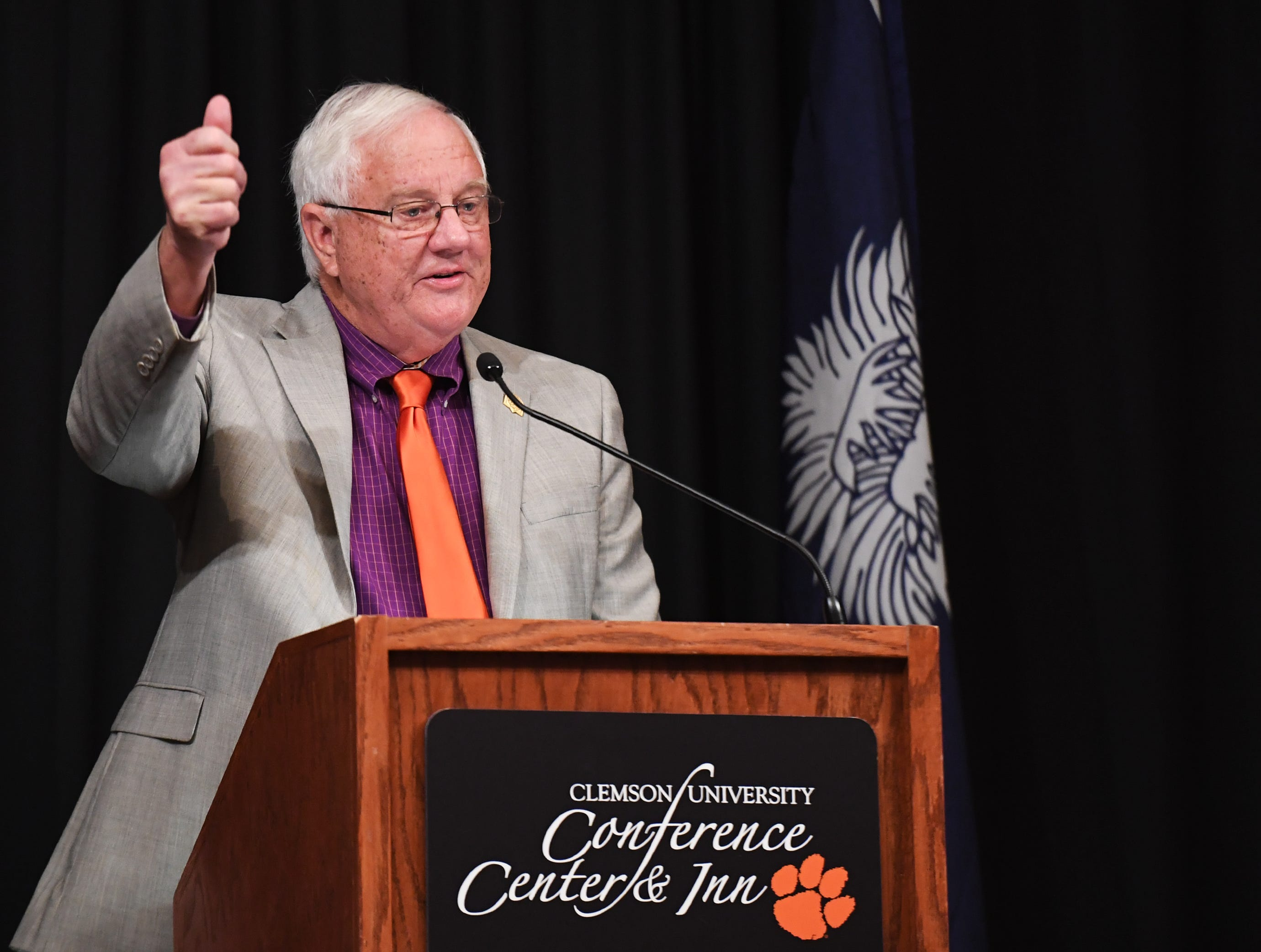 City of Clemson Mayor J.C. Cook speaks during of the State of Clemson event held at the Madren Center Tuesday, Feb. 19, 2019.