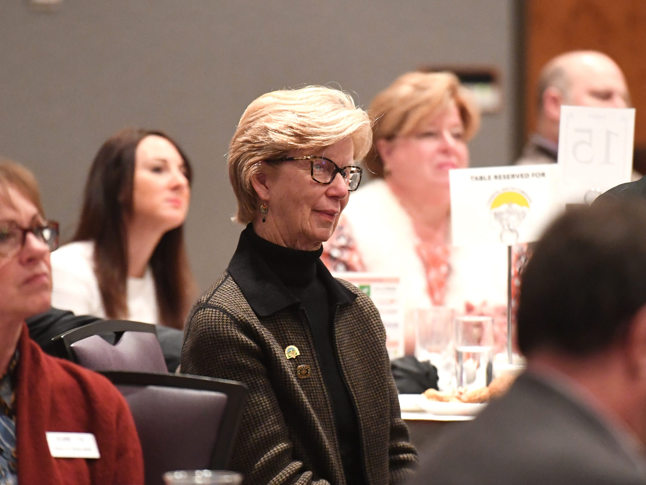 Crossie Cox, a city council member for the City of Clemson, attends the State of Clemson event held at the Madren Center Tuesday, Feb. 19, 2019.