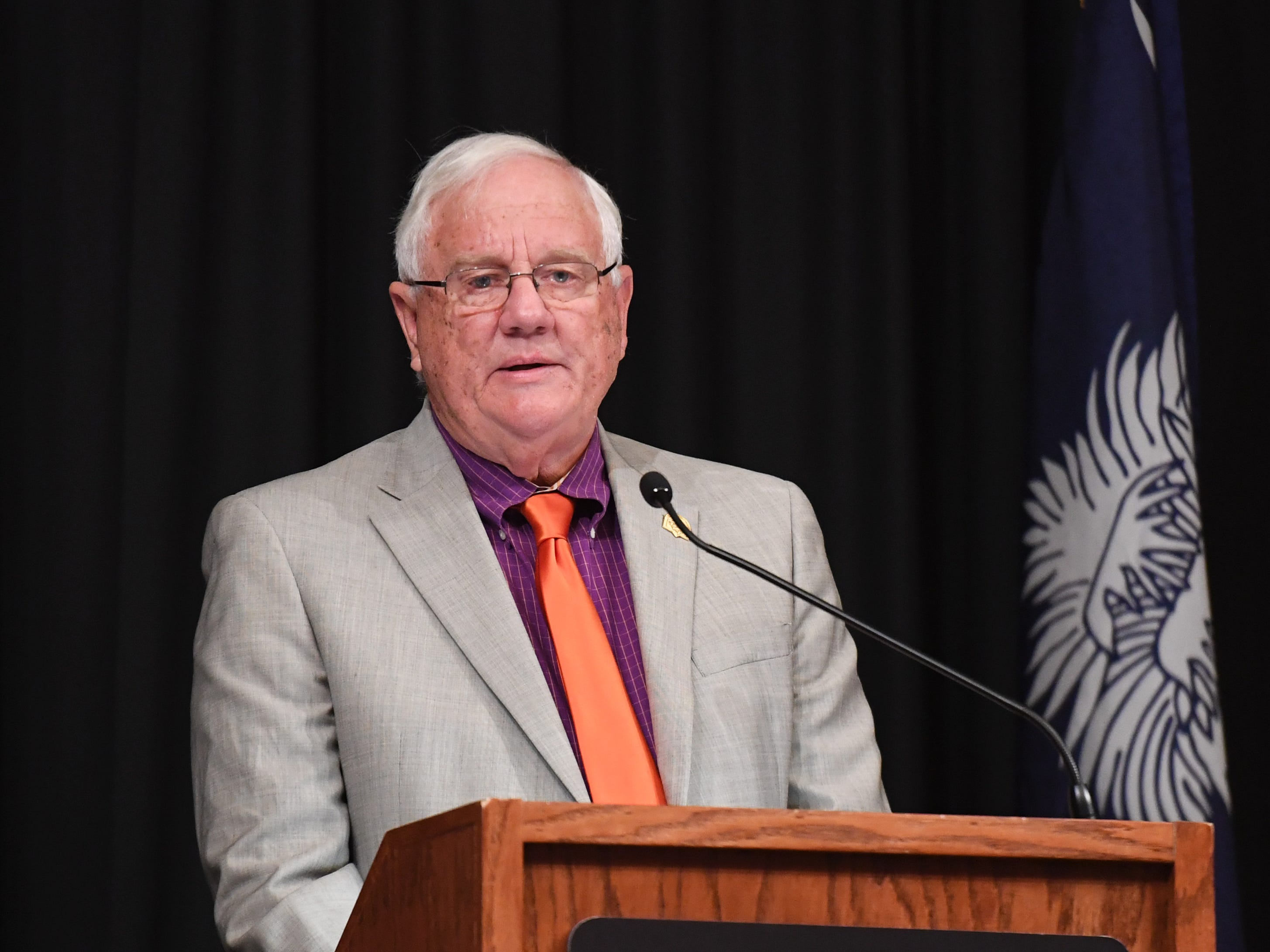 City of Clemson Mayor J.C. Cook talks about the city during of the State of Clemson event held at the Madren Center Tuesday, Feb. 19, 2019.