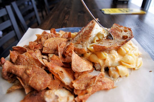 "The ""Lobster Mac and Cheese"" sandwich comes with a fork to make the chow down a little less messy"
