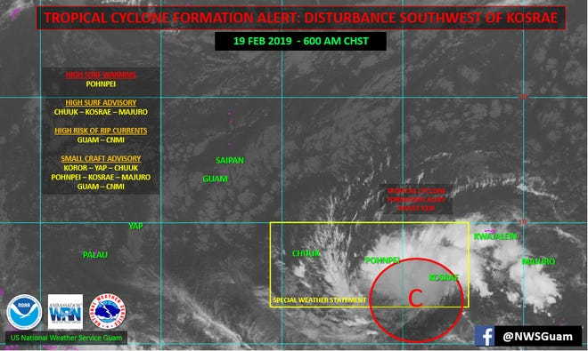A graphic posted Tuesday morning by the National Weather Service shows a developing weather system that is expected to reach the Marianas this weekend.