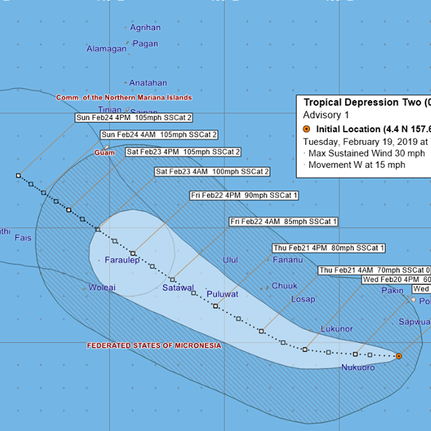 Tropical Storm Wutip forms, likely to reach typhoon strength before passing south of Guam