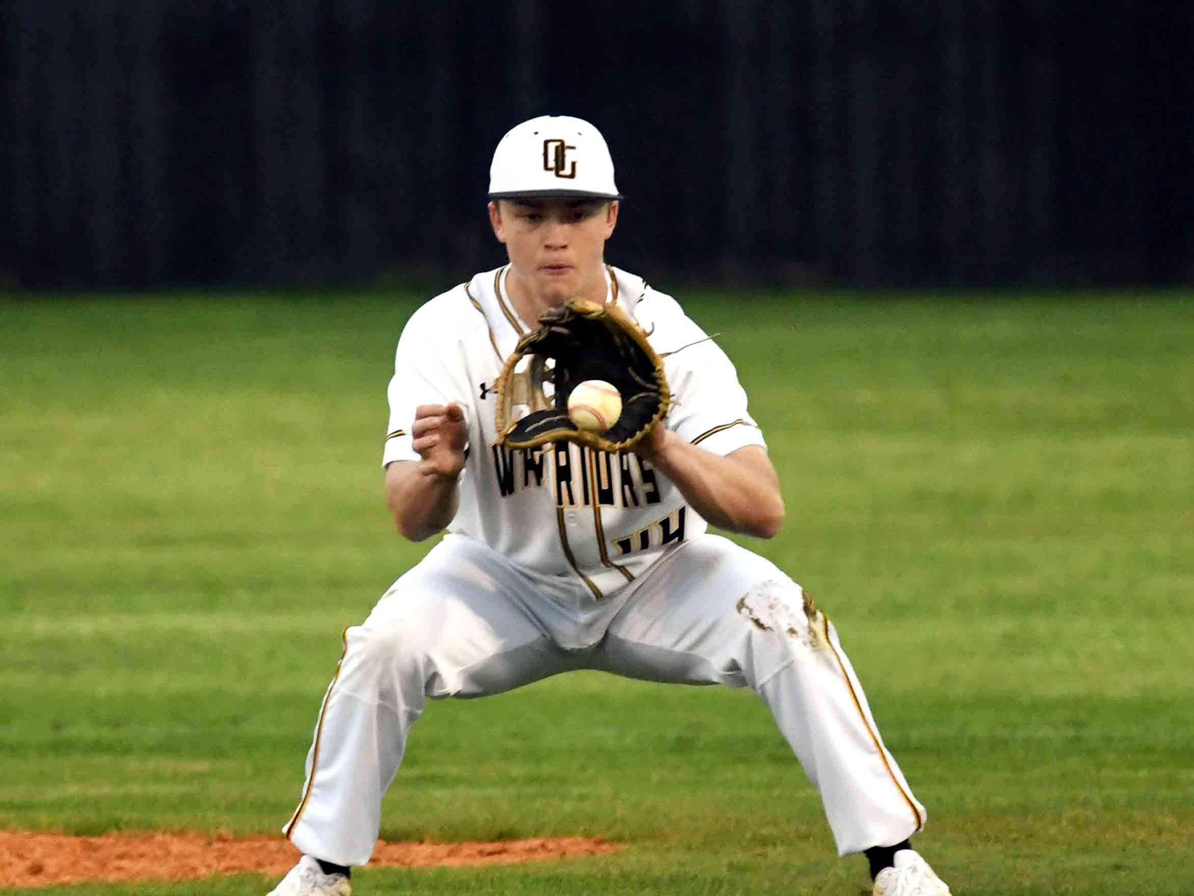 Oak Grove sophomore Zach Little catches the ball in outfield in their season opener against Seminary in Hattiesburg on Monday, February 18, 2019.
