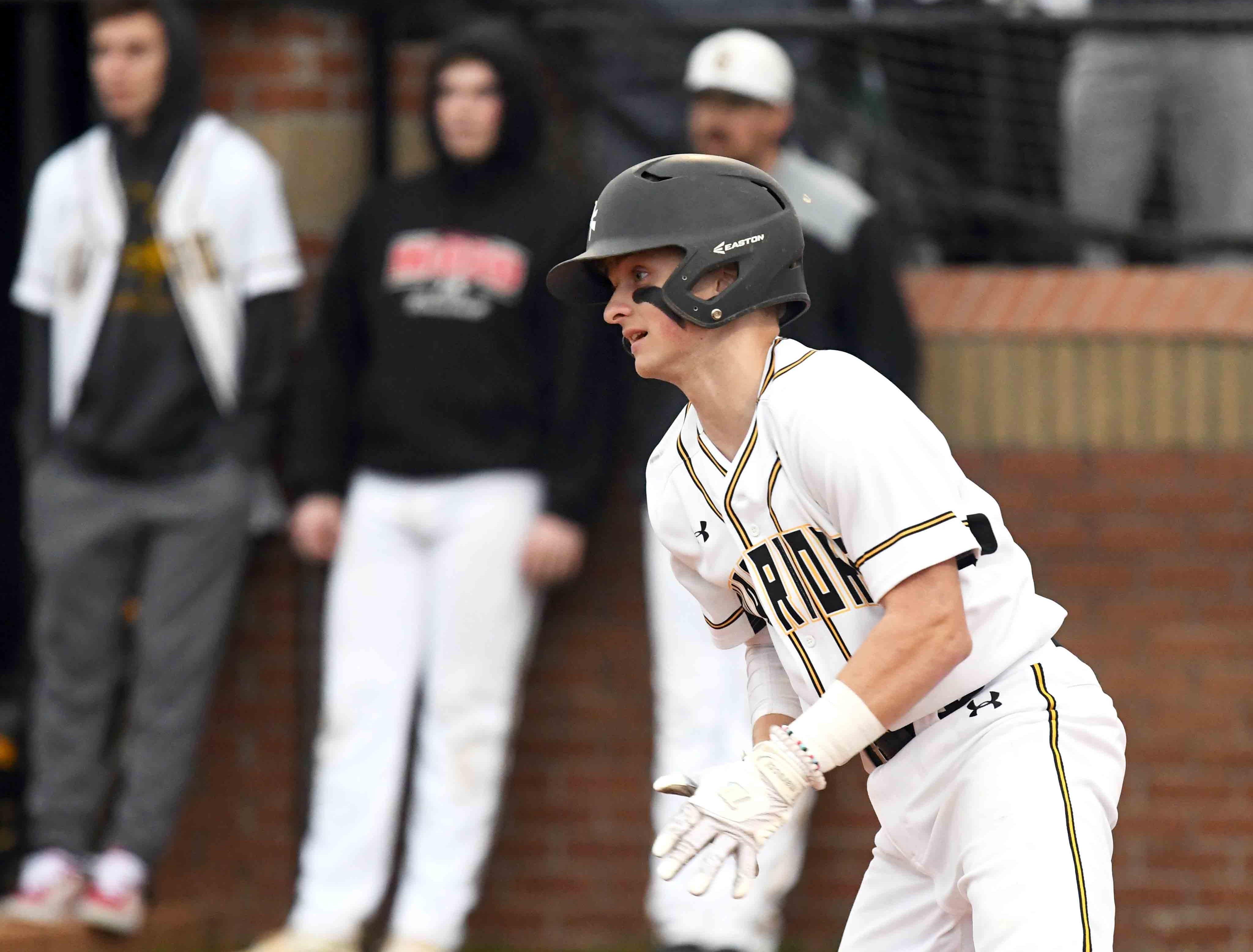 Oak Grove junior Liam Breithaupt runs to first base in their season opener against Seminary in Hattiesburg on Monday, February 18, 2019.