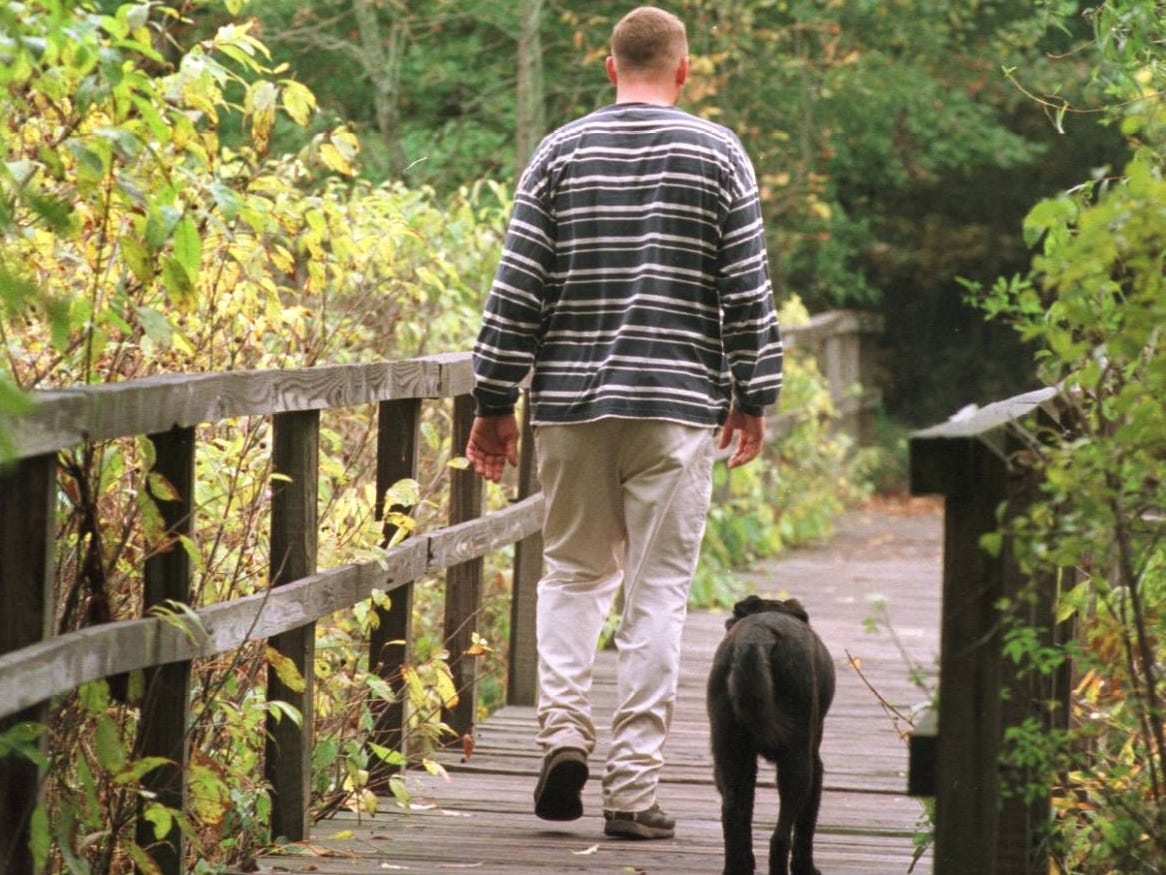 Trevor Sweeney and his dog Chloe set out across a wooden bridge in the of the Dunes Marsh after finishing hiking trails No. 9 and 10 in Indiana Dunes State Park.